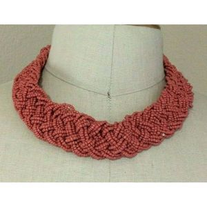 Pink Seed Bead Multistrand Braided Necklace 20""